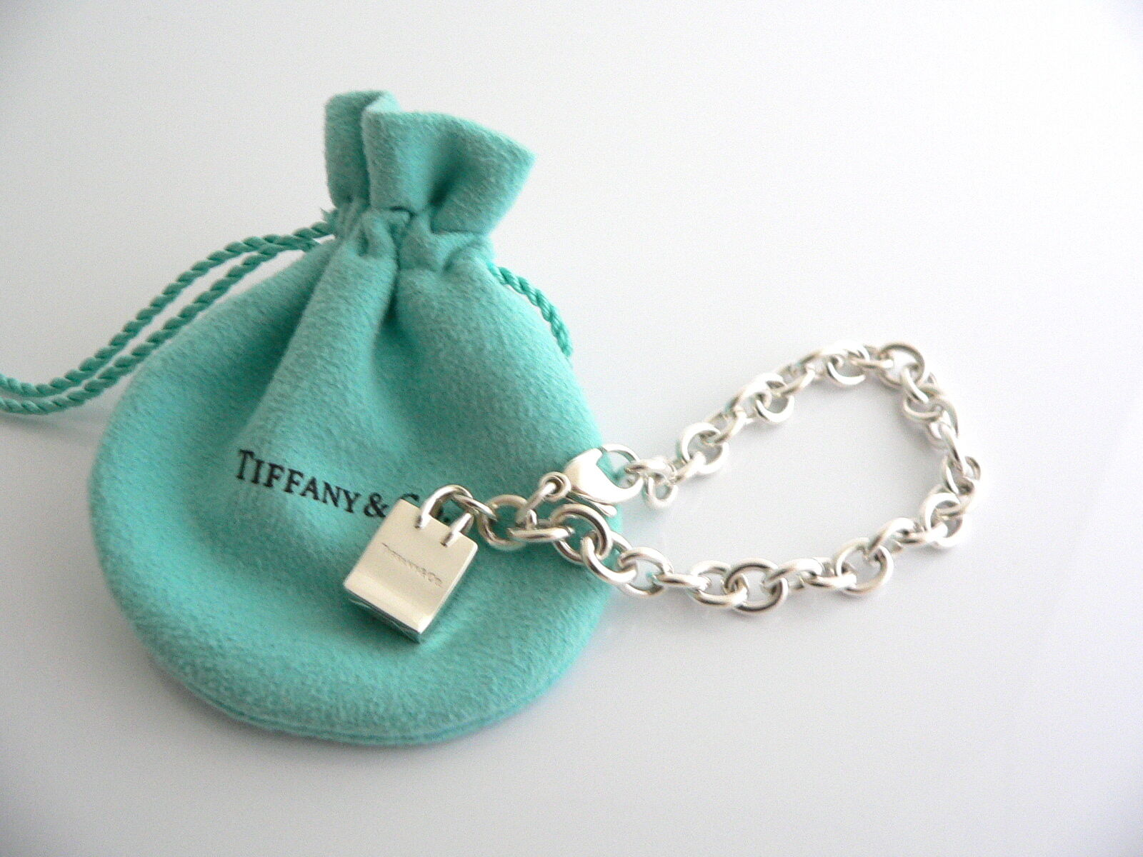 Tiffany & Co Silver Shopping Bag Bracelet Bangle Charm Clasp Gift Pouch