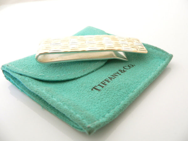 Tiffany & Co Silver 18K Gold Textured Weave Money Clip Holder Rare Gift Pouch