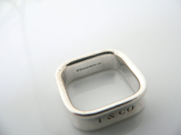 Tiffany & Co Silver 1837 Cushion Square Ring Band Sz 6 Rare Gift  Statement Love