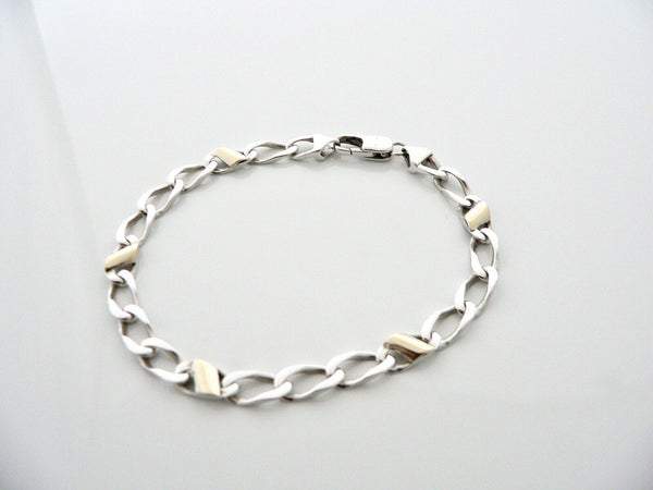 Tiffany & Co Silver 18K Gold Links Bracelet Bangle Chain Gift Love 8 In Longer