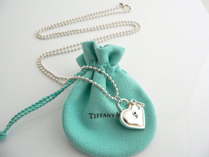 Tiffany & Co Large Heart Key Necklace Pendant Charm 34 In Chain Gift Love Pouch