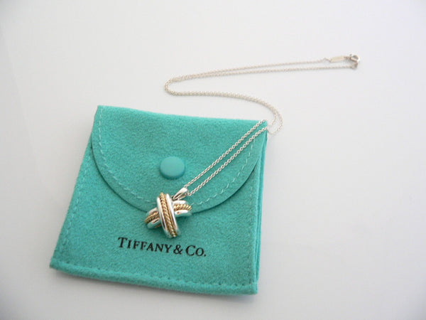 Tiffany & Co Silver 18K Gold Signature X Necklace Pendant Gift Pouch Love Pouch