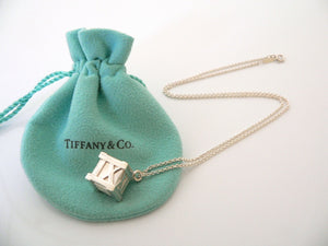 Tiffany & Co Silver Large Atlas Cube Necklace Pendant Charm 18 In Chain Gift