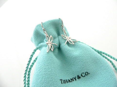 Tiffany & Co Silver Dragonfly Dangling Dangle Earrings Nature Lover Gift Pouch
