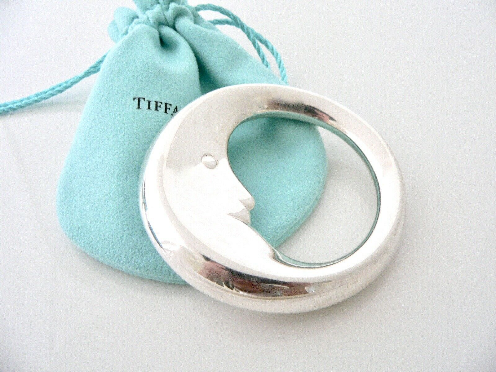Tiffany & Co Rare Sterling Silver Man on the Moon Baby Rattle Teether Gift Art