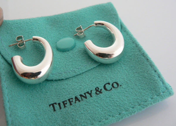 Tiffany & Co Silver J Hoop Puff Earrings Studs Rare Gift Pouch Love Statement