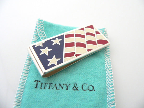Tiffany & Co Silver Flag Money Clip Red White Blue Enamel Holder Gift Love USA