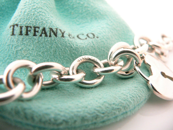 Tiffany & Co Silver Heart Key Hole Charm Pendant Bracelet Bangle Gift Love Pouch