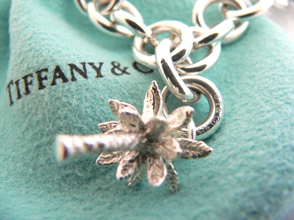 Tiffany & Co Silver Heart Palm Tree Bracelet Bangle Charm Gift Pouch Love 2 in 1