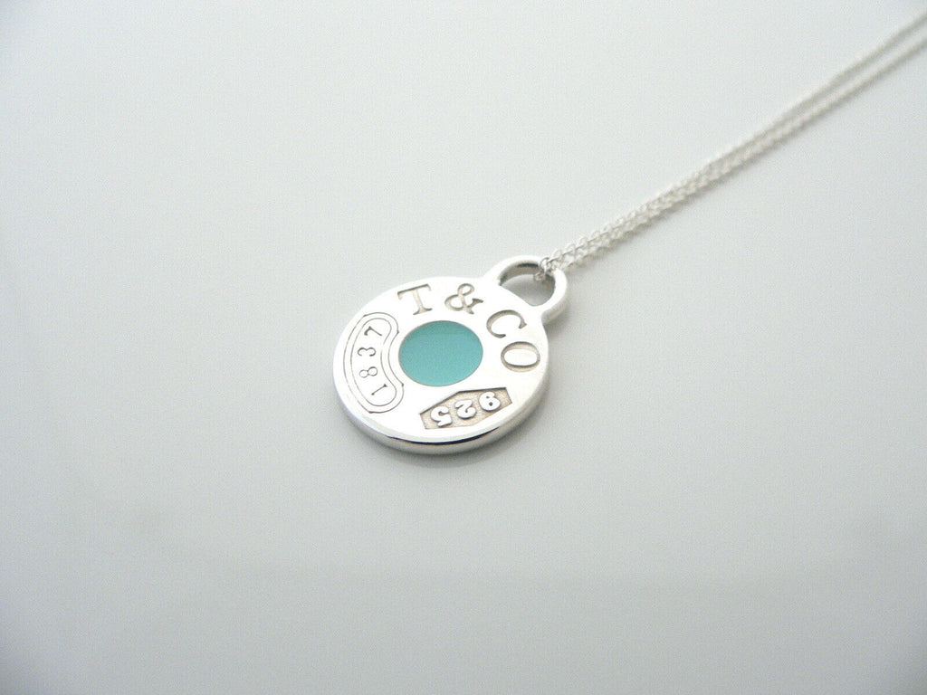 Dipped and diamond-polished porcelain circle blue pendant on sterling silver snake chain  18th 20th wedding anniversary gift  gift for her