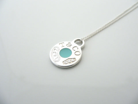 Tiffany & Co 1837 Blue Enamel Necklace Pendant Circle Charm Gift Love Silver