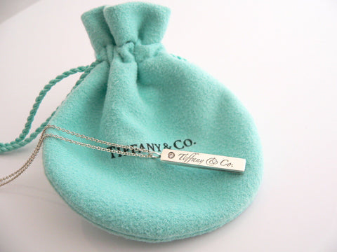 Tiffany & Co Silver Diamond Bar Necklace Pendant Chain Charm Gift Pouch Love