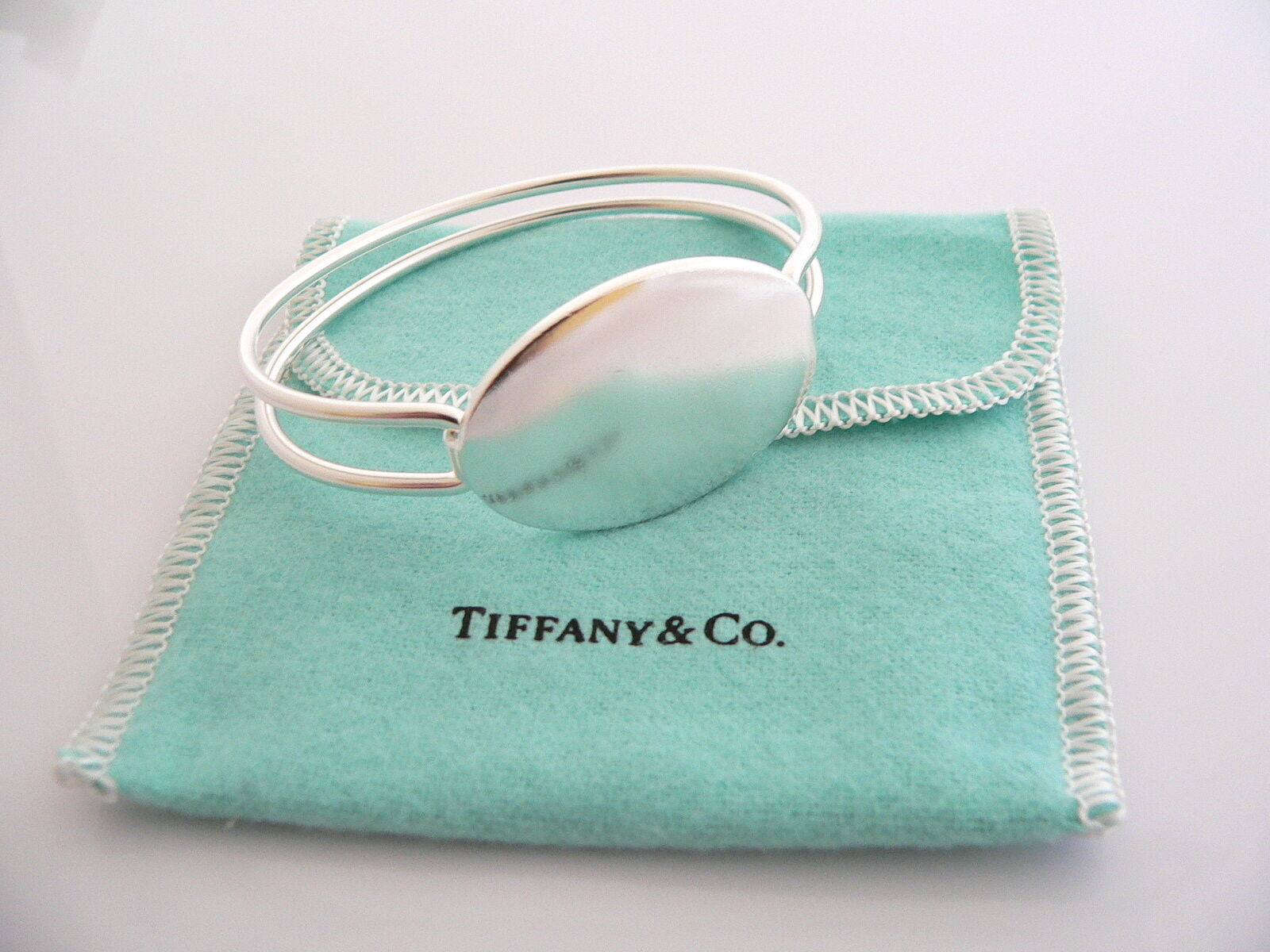 Tiffany & Co Silver Oval Double Wire Bangle ID Bracelet Gift Pouch Love Pouch