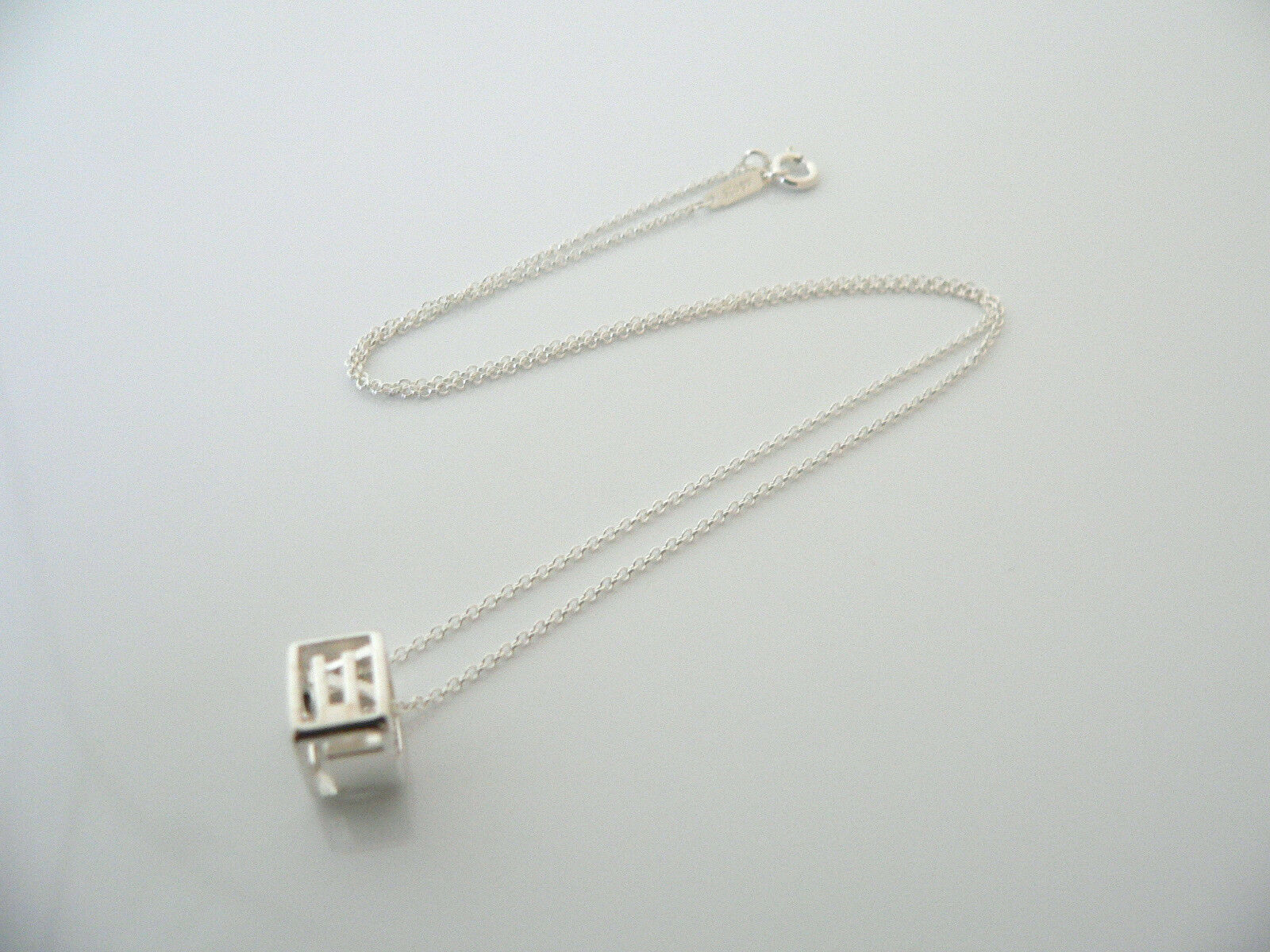 Tiffany & Co Silver LOVE Cube Necklace Pendant Charm ERA Gift