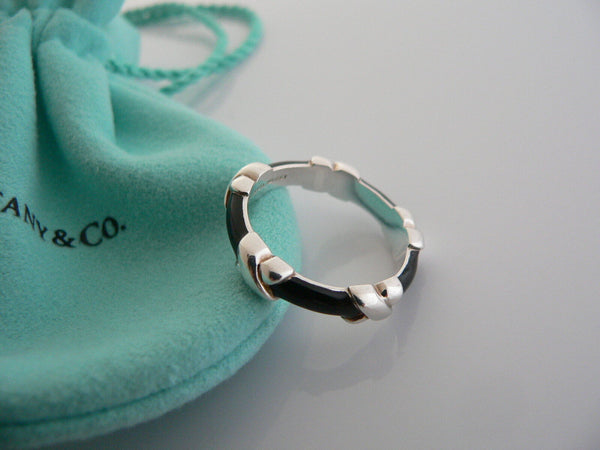 Tiffany & Co Silver Black Enamel Signature X Stacking Ring Band Sz 4.75 Gift