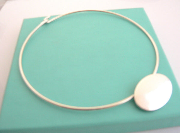 Tiffany & Co Silver Modern Oval Wire Necklace Pendant Charm Engravable Gift Love
