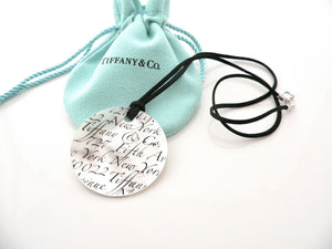 Tiffany & Co Silver Mother Pearl Notes Round Circle Necklace Pendant Gift Pouch