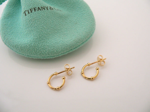 Tiffany & Co 18K Gold Bead Ball Dot Hoops Earrings Gift Pouch Love Dotted