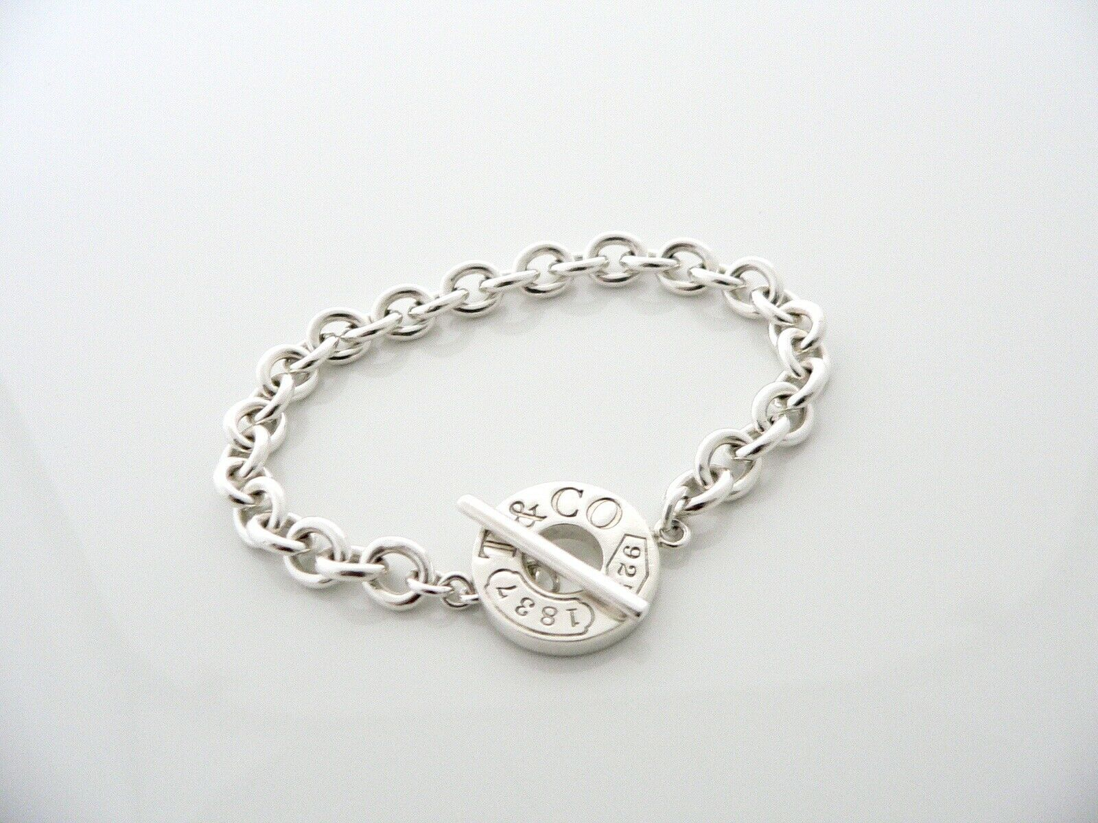 Tiffany & Co Silver 1837 Toggle Bracelet Bangle Chain Gift Love 8 Inch Longer