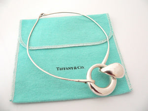 Tiffany & Co Silver Peretti Large Teardrop Hook Necklace 1975 Vintage Gift Pouch