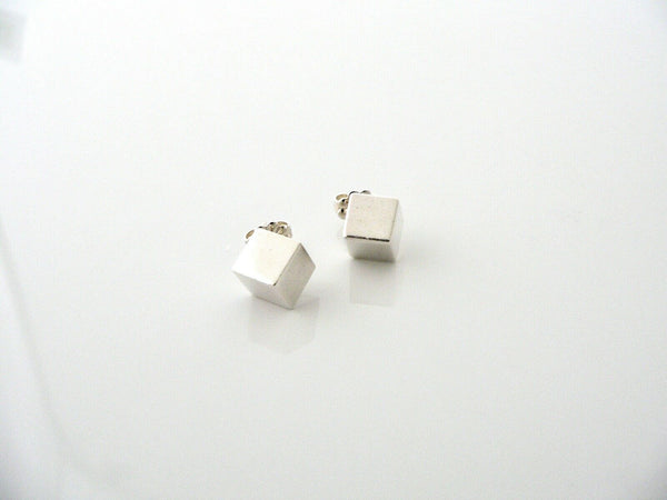 Tiffany & Co Silver Cube Square Earrings Studs Rare Classic Gift Love Art