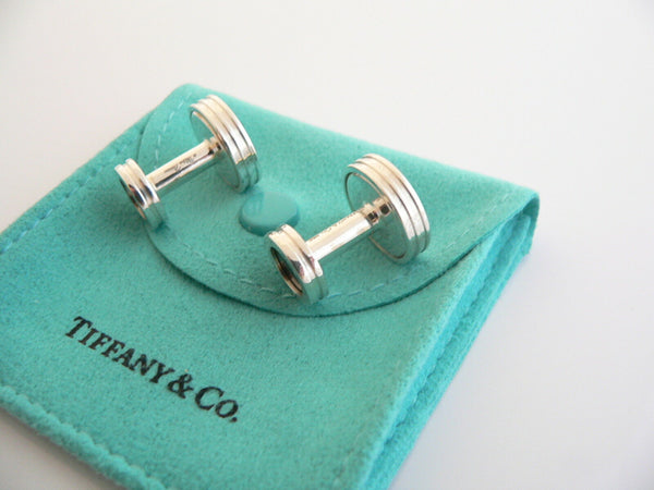 Tiffany & Co Silver Picasso Black Textured Design Cuff Link Cufflink Gift Pouch