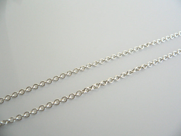 Tiffany & Co Silver 2 mm Curb Chain Necklace 16 Inch 4 Pendants Charms Thick