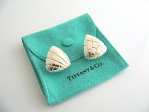 Tiffany & Co Silver Crocodile Triangle Textured Wide Hoops Earrings Studs Gift