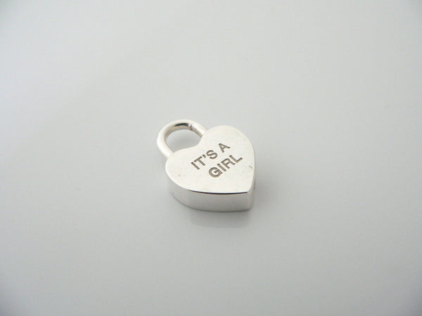 Tiffany & Co Silver It's A Girl Heart Padlock Pendant Charm Gift Love Rare