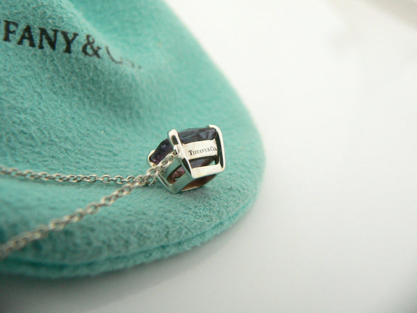 Tiffany & Co Silver Sparklers Amethyst Gemstone Pendant Necklace Charm Gift Love