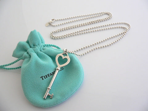 Tiffany Co Silver Large Heart Key Necklace Pendant Charm 34 in Chain Gift Pouch