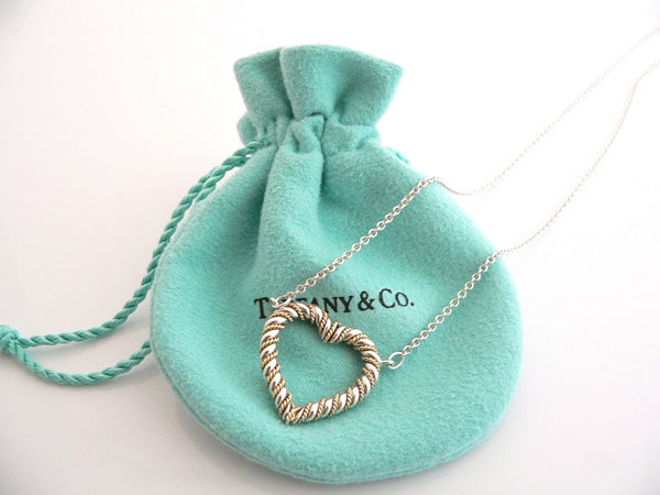 Tiffany & Co Silver 18K Gold Heart Rope Necklace Pendant Solitaire Charm Gift