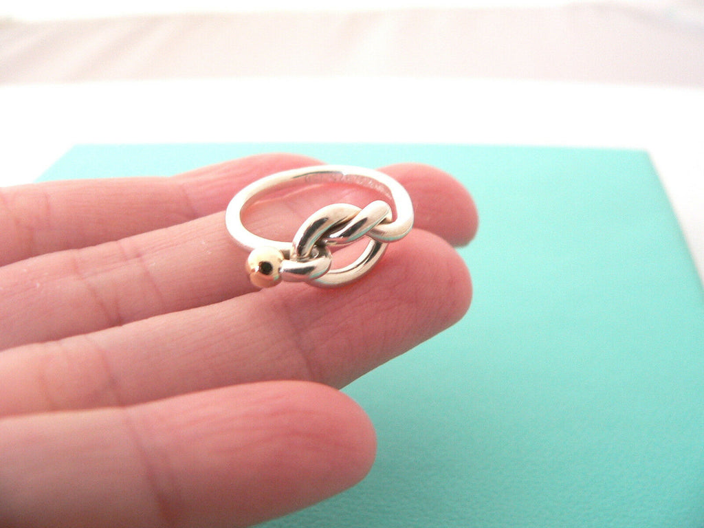 Tiffany Co Silver 18k Gold Love Knot Ring Band Sz 5 75 Gift Love Statement Regular