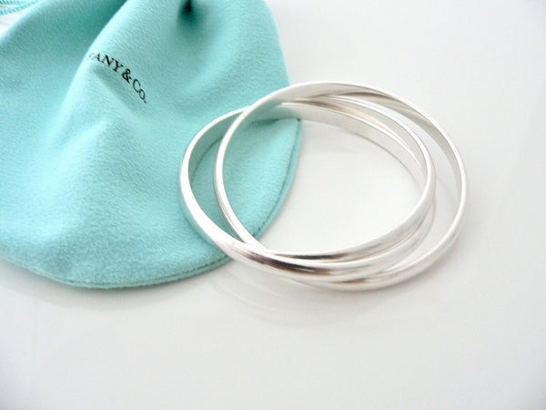 Tiffany & Co Silver Triple Rolling Interlocking Bracelet Bangle Rare Gift Pouch