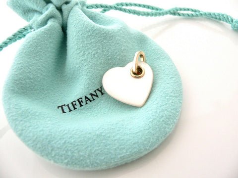 Tiffany & Co 18K Gold Mother of Pearl Heart Charm Pendant for Necklace Bracelet
