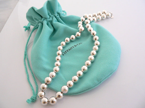 Tiffany & Co Silver 10 mm Ball Bead Necklace 18.4 Inch Chain Gift Pouch Love