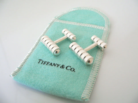 Tiffany & Co Silver Groove Stripe Picasso Cuff Link Cufflink Cufflinks Gift Love