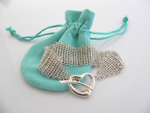 Tiffany & Co Silver Peretti Open Heart Mesh Bracelet Bangle Gift Pouch Love