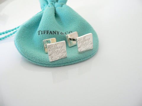 Tiffany & Co Silver Notes Square Cuff Links Cufflinks Excellent Gift Pouch