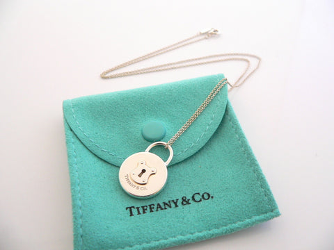 Tiffany & Co Silver Round Locks Necklace Pendant Charm Chain Gift Pouch Love