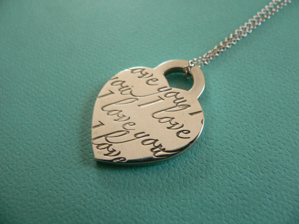Tiffany & Co Silver Heart I Love You Necklace Pendant Charm Chain Medium Gift