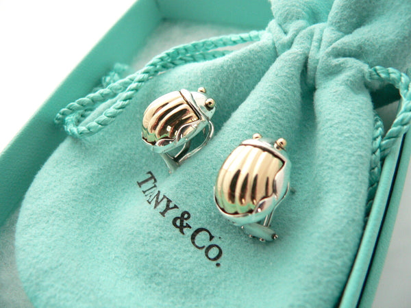 Tiffany & Co Silver 18K Gold Scarab Bug Beetle Earrings Rare Gift Pouch Box Art