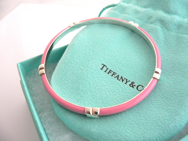 Tiffany & Co Silver Pink Enamel Signature X Bangle Bracelet Mint Gift Pouch Box