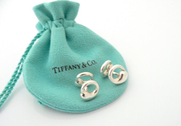 Tiffany & Co Silver Peretti Eternal Circle Cuff Links Cufflinks Gift Pouch Love