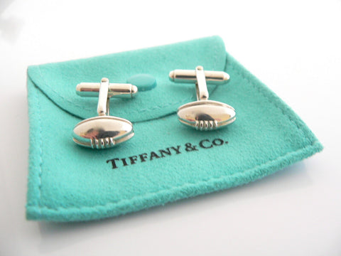Tiffany & Co Silver Football Cuff Link Cufflink Rare Gift Pouch Sports Lover