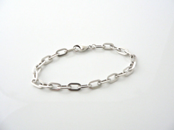 Tiffany & Co Silver Oval Links Bracelet Bangle Chain Gift Love 8 Inch Statement