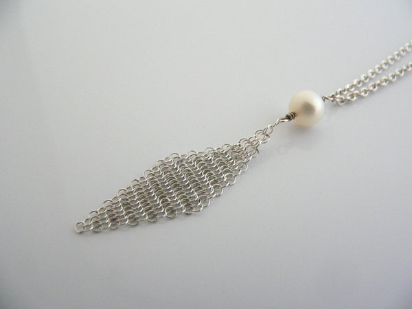Tiffany & Co Silver Peretti Pearl Mesh Dangling Dangle Necklace Pendant Gift