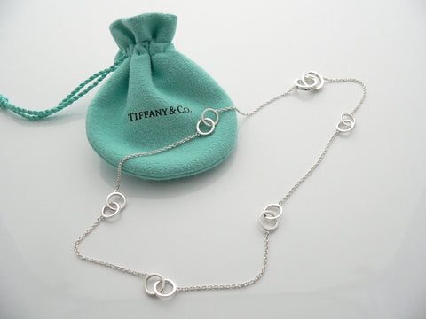 Tiffany & Co Silver 1837 Interlocking Circles Necklace Chain Gift Pouch Love Art