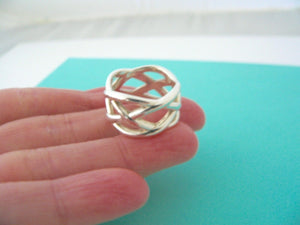 Tiffany & Co Silver Braided Knots Knot Wide Ring Band Sz 5.75 Gift Love