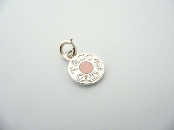 Tiffany & Co Silver 1837 Circle Pink Enamel Charm Clasp 4 Necklace Bracelet Gift